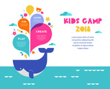 Children summer camp, poster with colorful splashes and whale