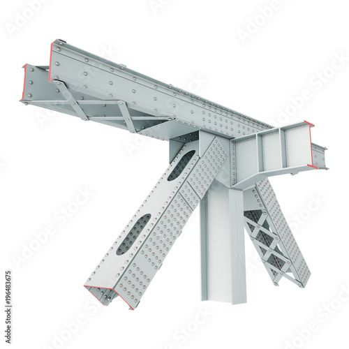 Steel Beam Structure on a white background  Isolated | Buy Photos