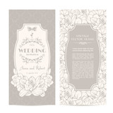 intage set of template spring flowers and patterned background. Elegant lace wedding invitation design, Greeting Card, banners.