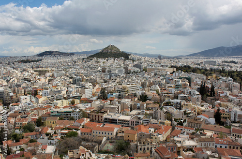 Tuinposter Athene Mount Lycabettus in the city of Athens, Greece