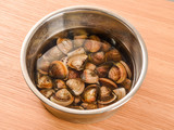 Clams clean sand conditioning with salty water in recipe - 196489802