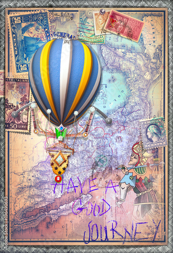 Foto op Canvas Imagination Old map with hot air balloon and tarot figure