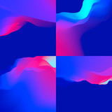 4 Abstract Backgrounds set. Vibrant ulrta violet gradient.