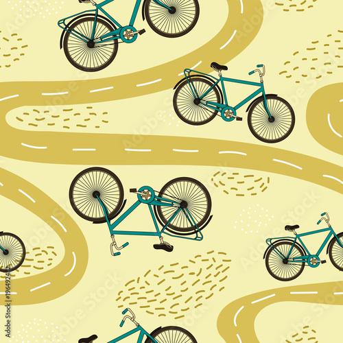 Wektor ładny wzór z rowerów i ścieżek.