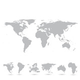Gray world map and the continents, illustration