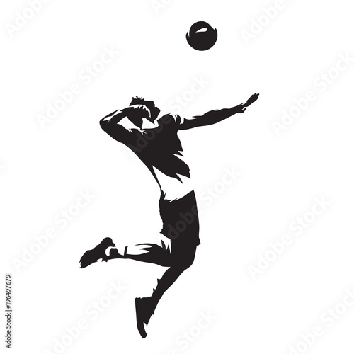 Volleyball player serving ball, isolated vector silhouette. Side view