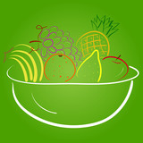 Harvest of exotic fruits in white bowl on green background - 196502230