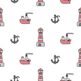 Cute marine seamless pattern. Vector background with lighthouse, anchor, ship. Suitable for wallpaper, wrapping paper, web page background, summer cards design.