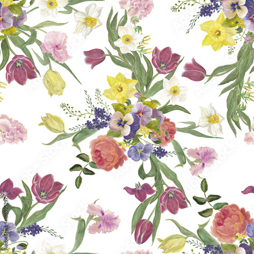 Watercolor painting seamless pattern with spring flowers - 196505297