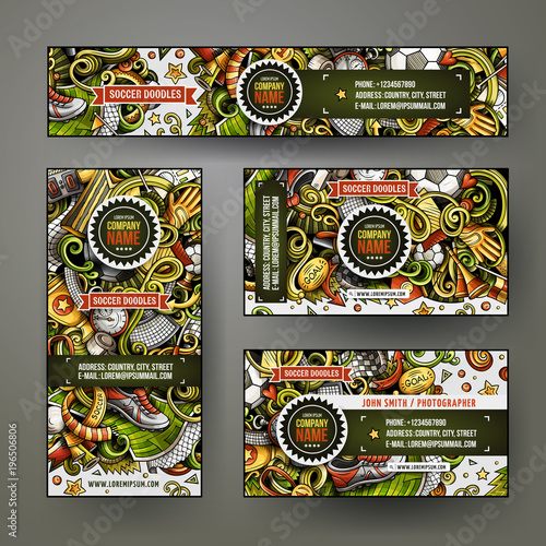 Corporate Identity vector templates set design with doodles hand drawn Football theme
