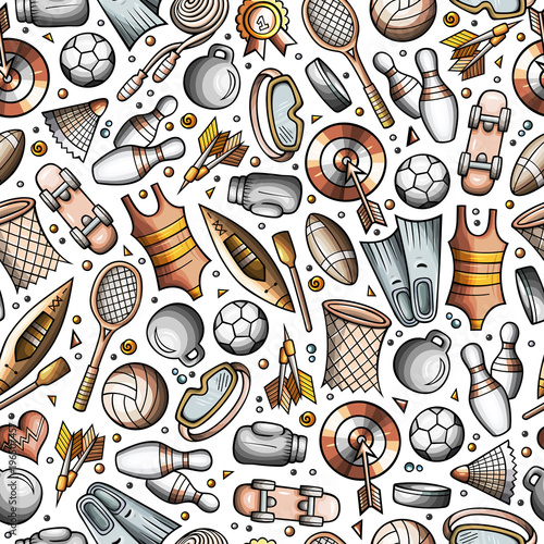Cartoon cute hand drawn Sport seamless pattern