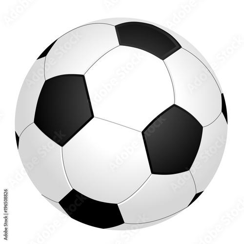 Fotobehang Bol Schwarzweißer Fußball, Grafik, weißer Hintergrund