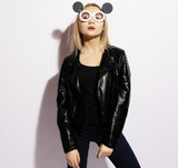 beauty and fashion concept: young woman with creative sunglasses - 196509068