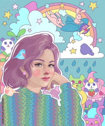 vector girl dreamer and her bright inner world: rainbow, rabbits, cats, pandas, sweets, fantasies and dreams - 196509414