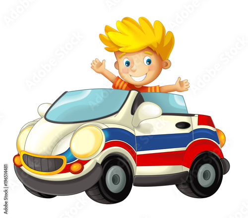 cartoon scene with happy child - boy in toy ambulance car on white background - illustration for children - 196514481