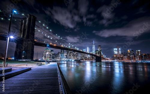 Brooklyn Bridge and New York skyline from Brooklyn