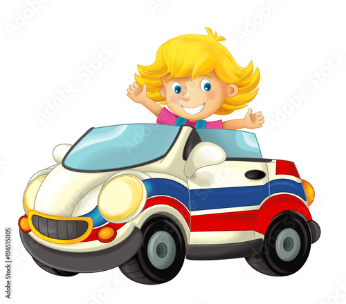 cartoon scene with happy child - girl in toy ambulance car on white background - illustration for children - 196515005