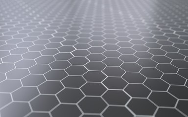 Abstract 3d surface with hexagons.