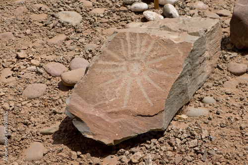Poster Stenen Stone painting carving. Sun. Inca indian culture Chiriba