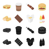 Chocolate, noodles, nuggets, sauce.Fast food set collection icons in black,cartoon style vector symbol stock illustration web.