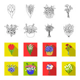 A bouquet of fresh flowers outline,flet icons in set collection for design. Various bouquets vector symbol stock web illustration. - 196527871