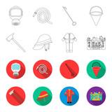 Ax, helmet, uniform, burning building. Fire departmentset set collection icons in outline,flet style vector symbol stock illustration web. - 196528002