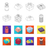 Gift box with bow, gift bag.Gifts and certificates set collection icons in outline,flet style vector symbol stock illustration web.