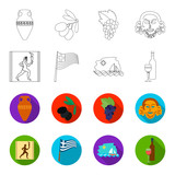 Greece, running, wine, flag .Greece set collection icons in outline,flet style vector symbol stock illustration web. - 196528039