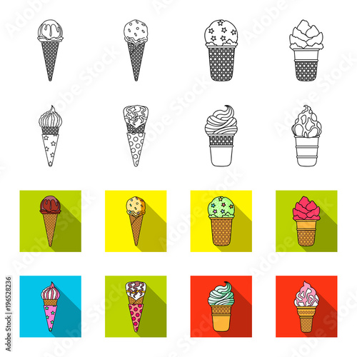 Wall mural Ice cream on a stick, in a waffle cone and other species. Ice cream set collection icons in outline,flet style vector symbol stock illustration web.