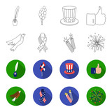 American eagle, ribbon, salute. The patriot's day set collection icons in outline,flet style vector symbol stock illustration web. - 196528666