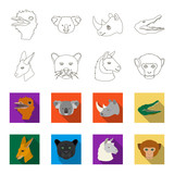 Kangaroos, llama, monkey, panther, Realistic animals set collection icons in outline,flet style vector symbol stock illustration web. - 196528832