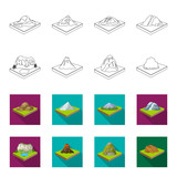 Mountains, rocks and landscape. Relief and mountains set collection icons in outline,flet style isometric vector symbol stock illustration web.