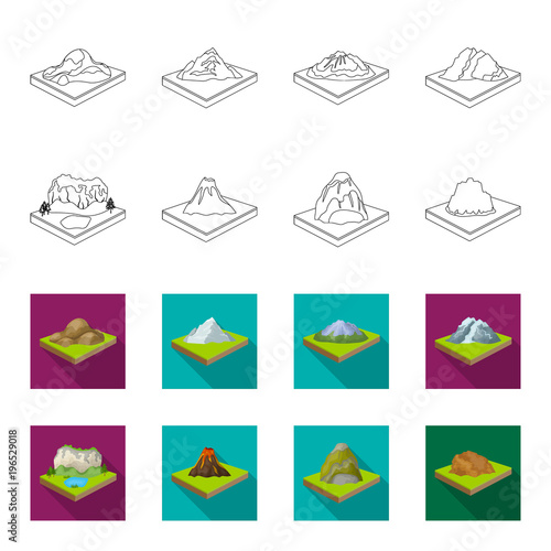 Fotobehang Wit Mountains, rocks and landscape. Relief and mountains set collection icons in outline,flet style isometric vector symbol stock illustration web.