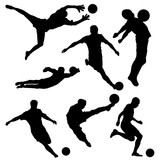 Black silhouette of soccer player in different poses on white background