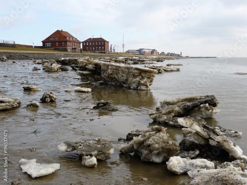 Fotobehang Noordzee Eisschollen am Jadebusen