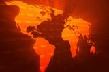 World map orange perspective glow