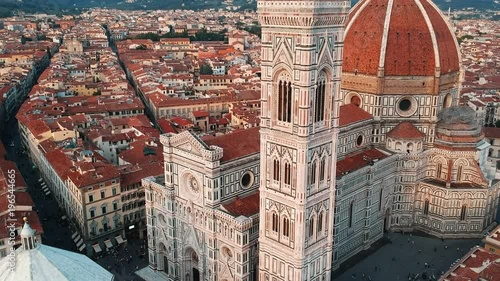 Wall mural Aerial Drone close up view of the Duomo Florence Cathedral, Florence, Italy