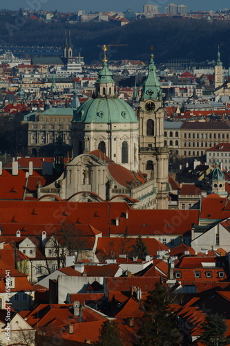 Staande foto Praag Prague's roofs in a sunny day panorama. Czech. Cityscape.