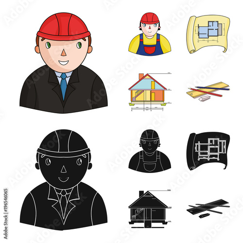 Sticker Engineer-constructor, construction worker, site plan, technical drawing of the house. Architecture set collection icons in cartoon,black style vector symbol stock illustration web.