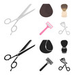 Scissors, brush, razor and other equipment. Hairdresser set collection icons in cartoon,black style vector symbol stock illustration web.