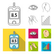 Poor vision, headache, glucose test, insulin dependence. Diabetic set collection icons in outline,flat style vector symbol stock illustration web.