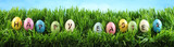 Bright colorful Easter eggs on green grass with flowers against blue sky - 196548614