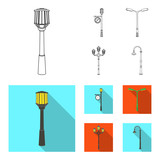 Lamppost in retro style,modern lantern, torch and other types of streetlights. Lamppost set collection icons in outline,flat style vector symbol stock illustration web.