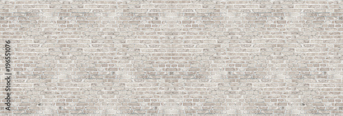 Vintage white wash brick wall texture for design. Panoramic background for your text or image. - 196551076