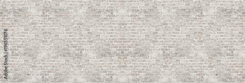 Leinwandbild Motiv Vintage white wash brick wall texture for design. Panoramic background for your text or image.