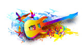 Music background with electric guitar and flying birds
