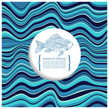 Background with waves and fish. Template greeting card or invitation.