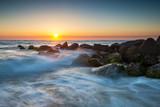 St. Augustine Florida Ocean Beach Sunrise With Crashing Waves