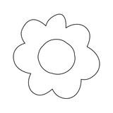monochrome contour caricature of flower in closeup vector illustration - 196558072
