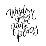 Wisdom grows in quite places. Inspirational quote for home, wall art poster. Modern calligraphy on white background.